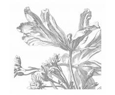 KEK Amsterdam Engraved Flowers III Fototapete - grau - 292,2 x 280 cm (= 6 Bahnen)