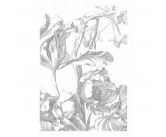 KEK Amsterdam Engraved Flowers I Fototapete - grau - 194,8 x 280 cm (= 4 Bahnen)