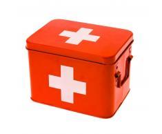 Present Time Storage Medicine Aufbewahrungsbox - rot mit weißem Kreuz - 21,5 x 15,5 x 16 cm