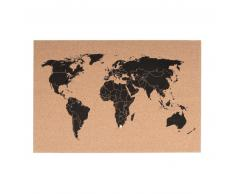 Present Time World Map Kork-Pinnwand mit 12 Pins - korkbraun - 60x40 cm