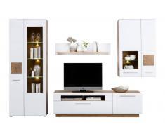 Hom´in Wohnwand SAVONA,Holznachbildung,Weiß