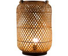 Nino Leuchten Windlicht 1flg WINDY,Bambus,braun