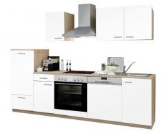 Menke Küchen Küchenblock Classic,Holznachbildung,Weiß