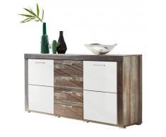 Z2 Sideboard CROWN X,Holznachbildung,Weiß