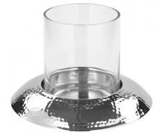 Fink Windlicht mit Glas H.24cm W19,Nickel,silber