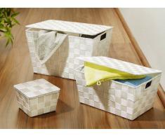 Zurbrüggen Flechtkörbe Adria mit Deckel,Kunststoff,Weiß