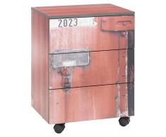 Zurbrüggen Rollcontainer,Holznachbildung,rot