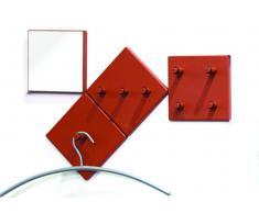 Zurbrüggen 4er-Garderobenset,Metall,rot