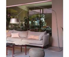 Serien Lighting Central Floor LED Stehleuchte mit Dimmer B: 240 H: 230 cm, edelstahl gebürstet/grau CE1013, EEK: A+