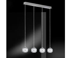 Wofi Fulton LED Pendelleuchte B: 75 H: 150 T: 8,5 cm, chrom/satiniert/klar 7740.04.01.0000, EEK: A+