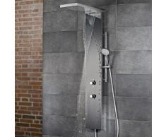 HSK Duschpaneel Lavida Plus B: 250 H: 2220 T: 670 mm, mit Schwallfunktion edelstahl poliert/Glasfront schwarz 1900017-45