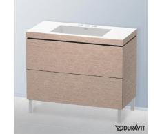 Duravit Vero Air Waschtisch mit L-Cube Waschtischunterschrank B: 100 H: 69,8 T: 48 cm, 2 Auszüge eiche kaschmir, mit Einrichtungssystem Nussbaum, mit 3 Hahnlöchern LC6938T1111+UV986907777