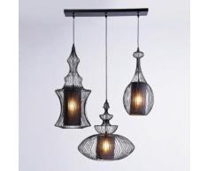 KARE Design Swing Iron Tre Pendelleuchte 3-flammig B: 119 H: 117 T: 43 cm, schwarz 31658, EEK: A++