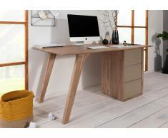 Schreibtisch Akazie 160x80x76 braun-creme lackiert TROMSO #003