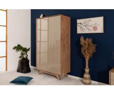 Kleiderschrank Akazie 100x50x185 braun-creme lackiert TROMSO #001