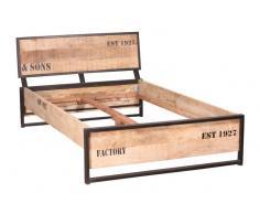 FACTORY Bett #140 160x200cm Eisen u. Mangoholz bedruckt