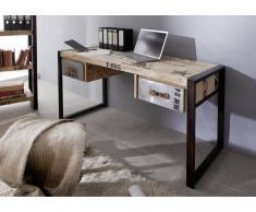 FACTORY Schreibtisch #124, Eisen u. Mangoholz bedruckt