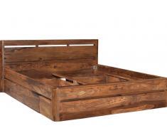 Bett mit Schublade Sheesham walnuss lackiert TORONTO - Verschiedene Größen