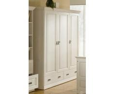 ODETTE Kleiderschrank 3-türig Kiefer massiv weiß
