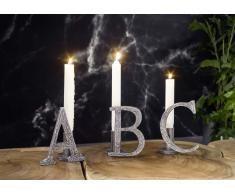 """Kerzenständer ABC"""" Aluminium 33x8x13 DEKO #328"""""""
