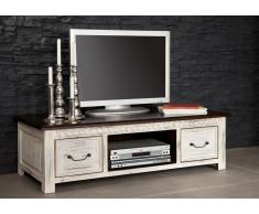 TV-Board Mango / Akazie 135x60x40 weiß gewachst CASTLE-ANTIK #237
