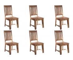 Stuhl Sheesham 45x46x100 grau geölt LEEDS #715, 6er Set