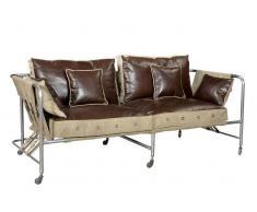 1920s ORIGINAL 2-Sitzer Sofa #133 Canvas und Leder