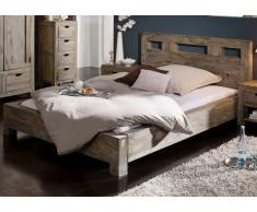 Palisander Möbel Bett 180x200 Sheesham Massivholz NATURE GREY #202