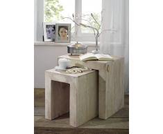 Beistelltisch Akazie 45x35x45 white stone getüncht NATURE WHITE #12
