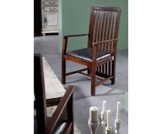 Kolonialer Sessel Polster schwarz Akazie massiv Möbel ZENO OXFORD #27