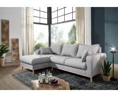 Sofa inklusive Kissen 230x154x84 grau Ottomane links BJÖRN