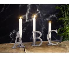 Kerzenständer Aluminium 11x8x13 - Verschiedene Buchstaben