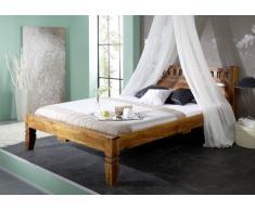 Kolonial Bett 140x200 Akazie honig massiv Holz OXFORD #221