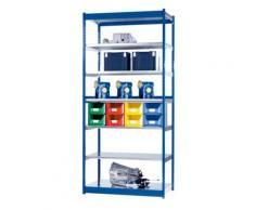 hofe Stabil-Steckregal, einseitig - Regalhöhe 3000 mm, blau/verzinkt,