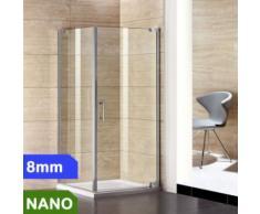 90x90cm Duschabtrennung Duschkabine 8mm NANO Glas + Duschtasse