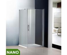 80x90x185cm Duschkabine Schwingtür Duschabtrennung NANO Glas