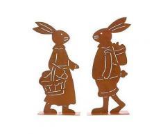 deko-figuren set hasen, rost, 2-teilig, »franz & fränzi«