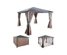hardtop pergola hwc-c74, garten pavillon, kunststoff-dach seitenwand + moskitonetz alu ~ 3x3m