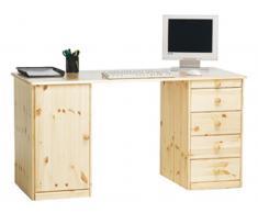 Schreibtisch mit 5 Schubladen und 1 Tür Klarlackiert | Gelaugt Geölt , Klarlackiert (19)