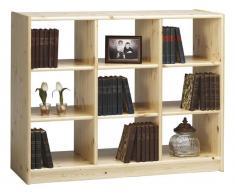 Bücherregal, Kiefer massiv, klarlackiert, 9 Fächer, Steens Boris
