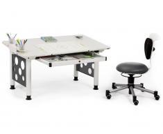 Schreibtisch mit Schublade Weiß Grau, Höhenverstellbar 53 - 72cm, Orgoo