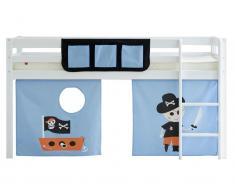 Spielbett Flexa Basic HIT, Weiß mit Gerader Leiter, Vorhang und Betttasche inkl. Piraten Vorhang und Betttasche