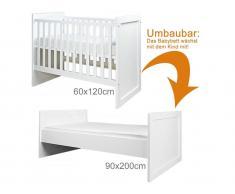 Babybett / Jugendbett Babyflex Weiß 60x120cm/90x200cm, Bopita Umbaubar zum Jugendbett
