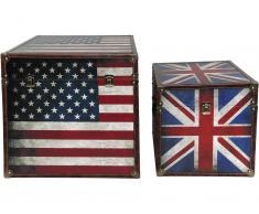 Truhe US+UK Flagge, 2er Set, Vintage Look