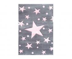 Teppich STARS Silbergrau/Rosa, 160x230cm, Happy Rugs Livone