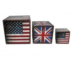 Truhe / Box (3er-Set), US+UK Flagge, Vintage Look