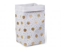Childhome Aufbewahrungs Korb Weiß Gold Dots, Höhe 60cm, Wäschekorb
