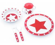 Pimpalou Melamin Geschirr-Set STARS Rot, 5-teilig
