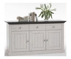 Sideboard 3 Türen, 3 Schublade Steens Monaco , white wash - wenge (M13)