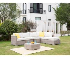 Garten-Sitzgruppe modulierbar BUSAN - Polyrattan: 5-Sitzer-Sofa, Hocker & Beistelltisch